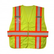 CLASS 2, LIME MESH EXPANDABLE VEST, TWO-TONE CONTRASTING TRIM/REFLECTIVE STRIPES, MULTIPLE POCKETS, DUAL MIC TABS, BADGE HOLDER