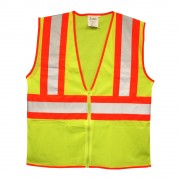 CLASS 2, LIME MESH VEST, ZIPPER CLOSURE, TWO-TONE CONTRASTING TRIM/REFLECTIVE TAPE, INSIDE LOWER POCKET